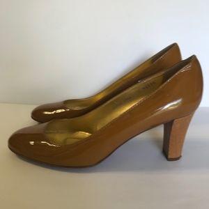 J. Crew Patent Leather Wooden Heels Pumps Caramel